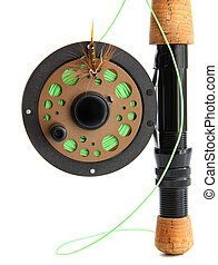 Closeup of fly fishing rod on white background