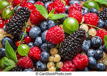 Closeup of fresh berry fruits
