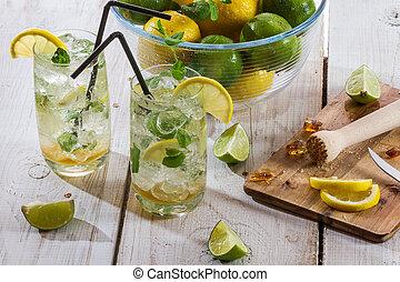 Closeup of fresh cold drink lemon
