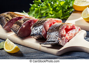 Closeup of fresh fish preparation for frying