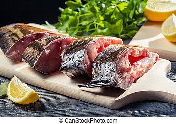 Closeup of fresh fish preparation for frying