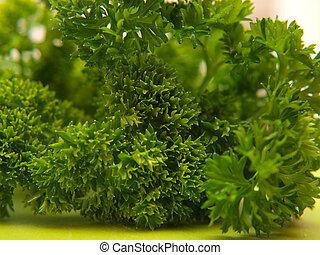 Closeup of fresh green parsley, on green chop board