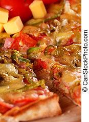 Closeup of fresh italian pizza