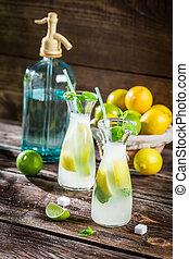 Closeup of fresh lemonade with fruit