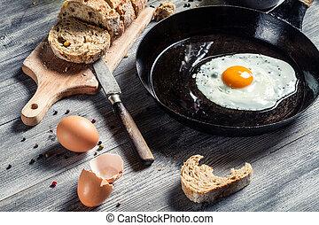 Closeup of freshly fried egg on a pan