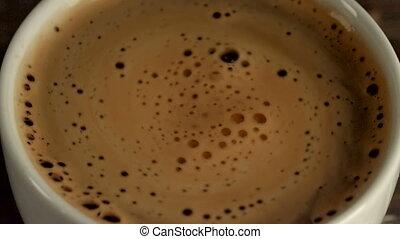 Closeup of freshly prepared cup of italian espresso