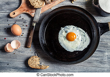 Closeup of fried egg on a cast iron pan