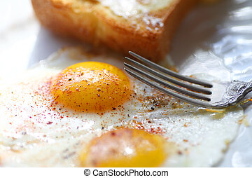 Closeup of fried eggs with toast