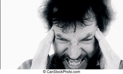 furious man with strong headache