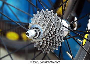 gear of bicycle wheel - closeup of gear of bicycle wheel
