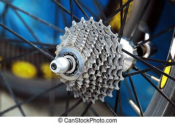 gear of bicycle wheel - closeup of gear of bicycle wheel