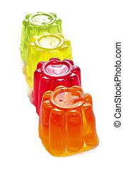gelatin - closeup of gelatin of different colors on a white...