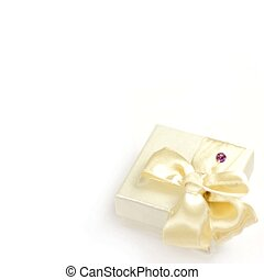 Closeup of gift box on a white background