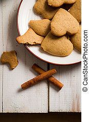 Closeup of gingerbread cookies on a plate