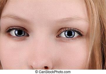 Closeup of girl's face.