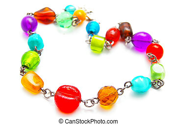 closeup of glass bead necklace jewelry