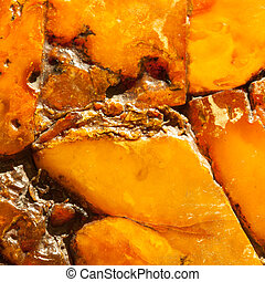 Closeup of golden amber as background or texture. Resin gem....