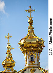 Closeup of golden cupola in Summer Gardens - Peterhof,...