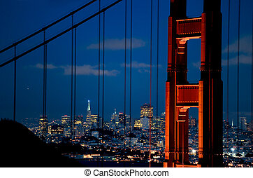 closeup of golden gate bridge at night - golden gate bridge...