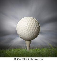 closeup of golf ball on golf tee