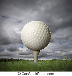 golf ball on golf tee