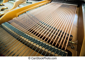 Closeup of grand piano showing the strings, pegs and sound...