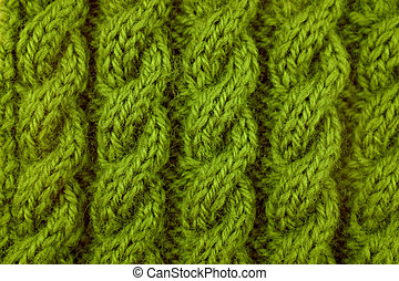 Closeup of green cable knitting stitch - Closeup of green...