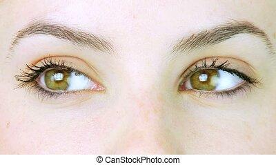 Closeup of green eyes