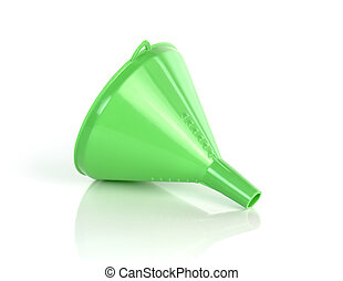 closeup of green funnel isolated on a white background