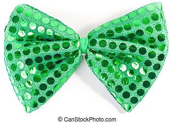Closeup of green sequin bow tie - Closeup of a green...
