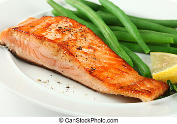 Closeup of Grilled Salmon Fellet with Green Beans Plate