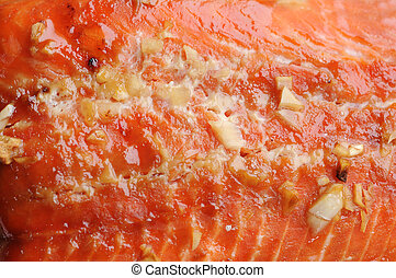 closeup of grilled salmon  for background uses