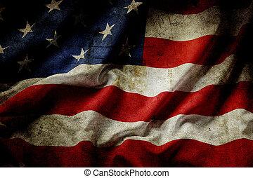 American flag - Closeup of grunge American flag