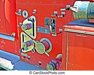 guages on old firetruck