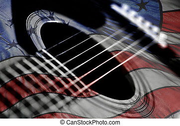 Closeup of Guitar Strings for Music American Flag Americana USA
