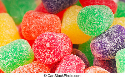 Closeup view of holiday gumdrop candy with sugar coating