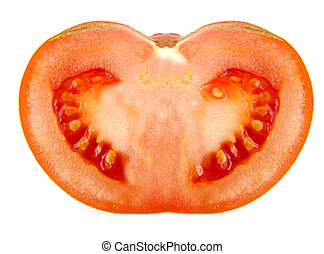 Closeup of half a tomato isolated on white background.