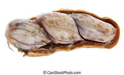 Closeup of half brown boil peanut on white background