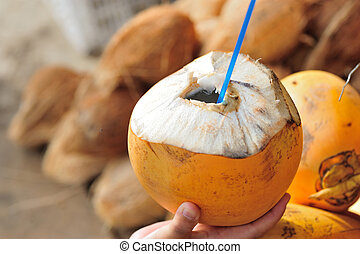 closeup of hand hold king coconut for drinking