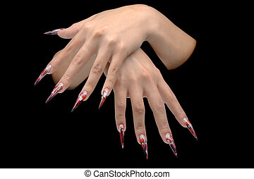 Closeup of hand of young woman long nail-art manicure on nails