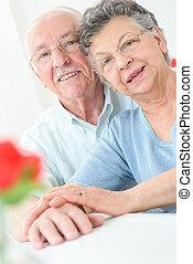 closeup of happy healthy senior couple in love