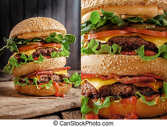 Closeup of home made double burger on wooden background