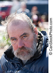 Closeup of homeless man