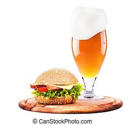Closeup of homemade burger and beer