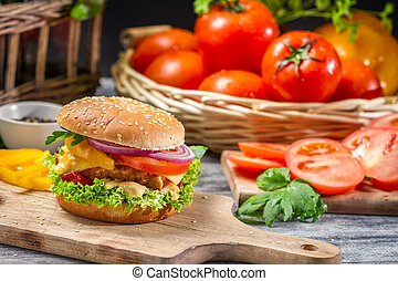 Closeup of homemade burger made from fresh vegetables