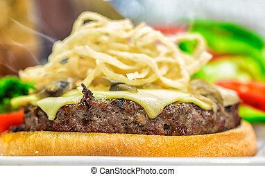 Closeup of homemade hamburger