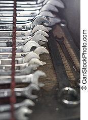Closeup of iron spanners set