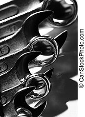 Closeup of iron spanners set with shadows