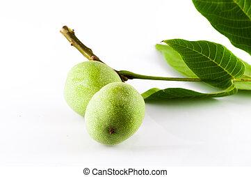 Isolated fresh walnuts on white background