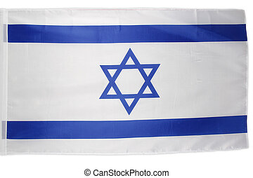 Closeup of Israeli flag on plain background